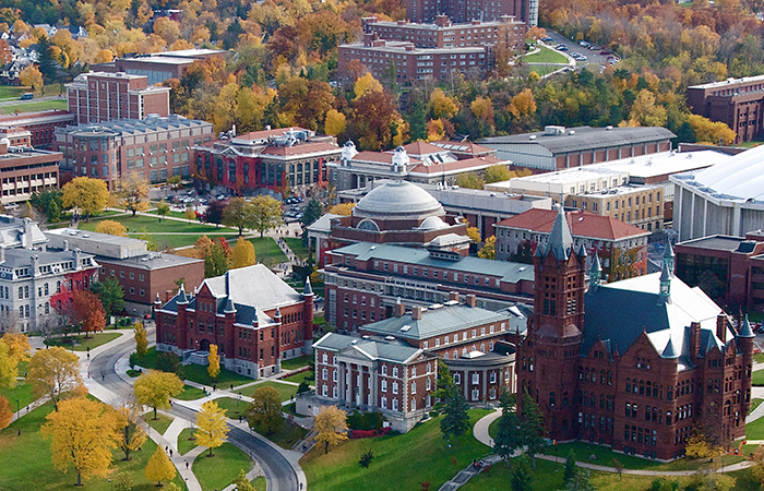 Aerial view of Syracuse University campus